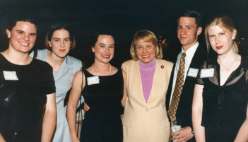 New York syndicated columnist Liz Smith poses with the Foundation's scholarship recipients.