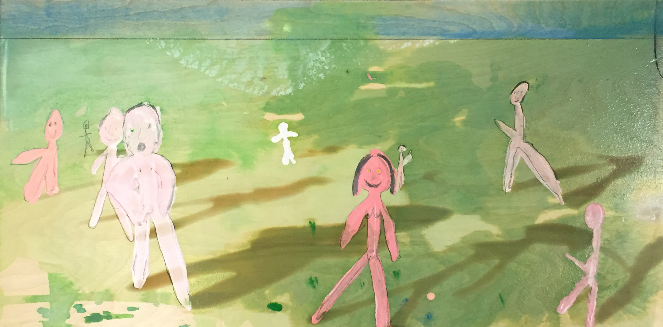 4.Nudes in Field, 2017, acrylic, house paint, pencil and laser etched shadows on plywood, 30 x 15 in.JPG