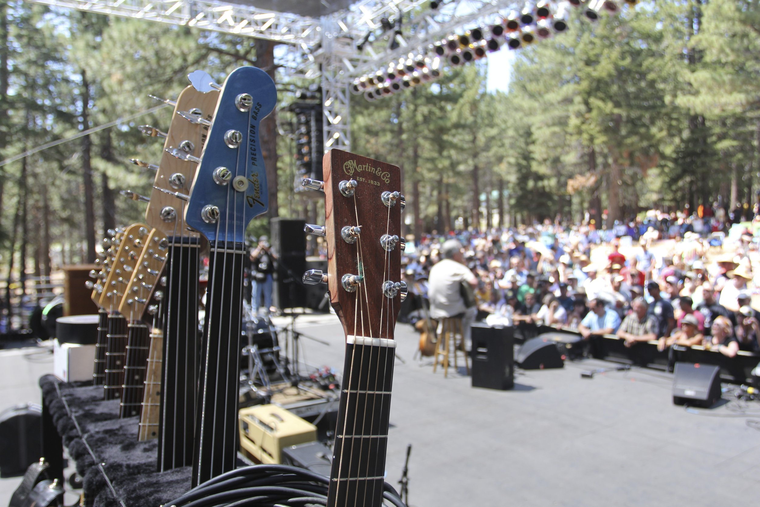 Electric guitars on stage at the Mammoth Festival of Beers and Bluesapalooza