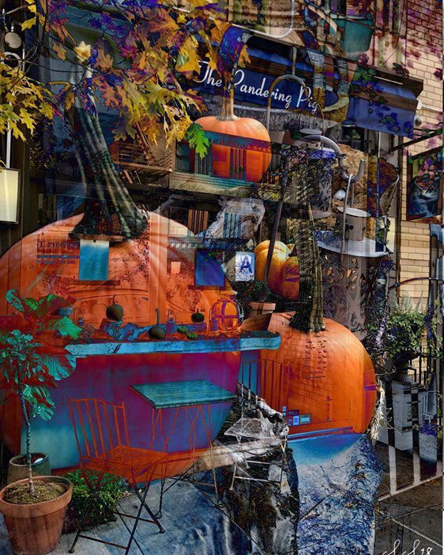 Halloween Love for The Pig by friend and artist Stephen Sunderland  #art #interpretive #localartist #nycart #halloween #pumpkins