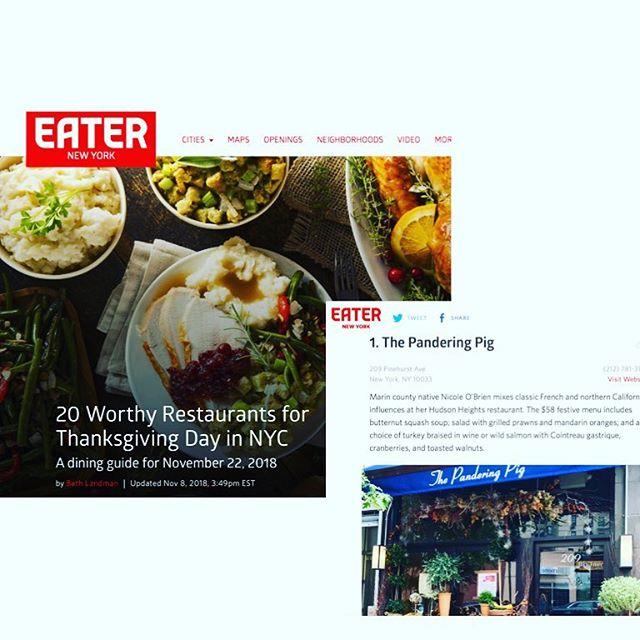 Thanks @eater for the Thanksgiving nod!  #eater #eaterny #eaternyc #thanksgiving #thanksgivingdinner