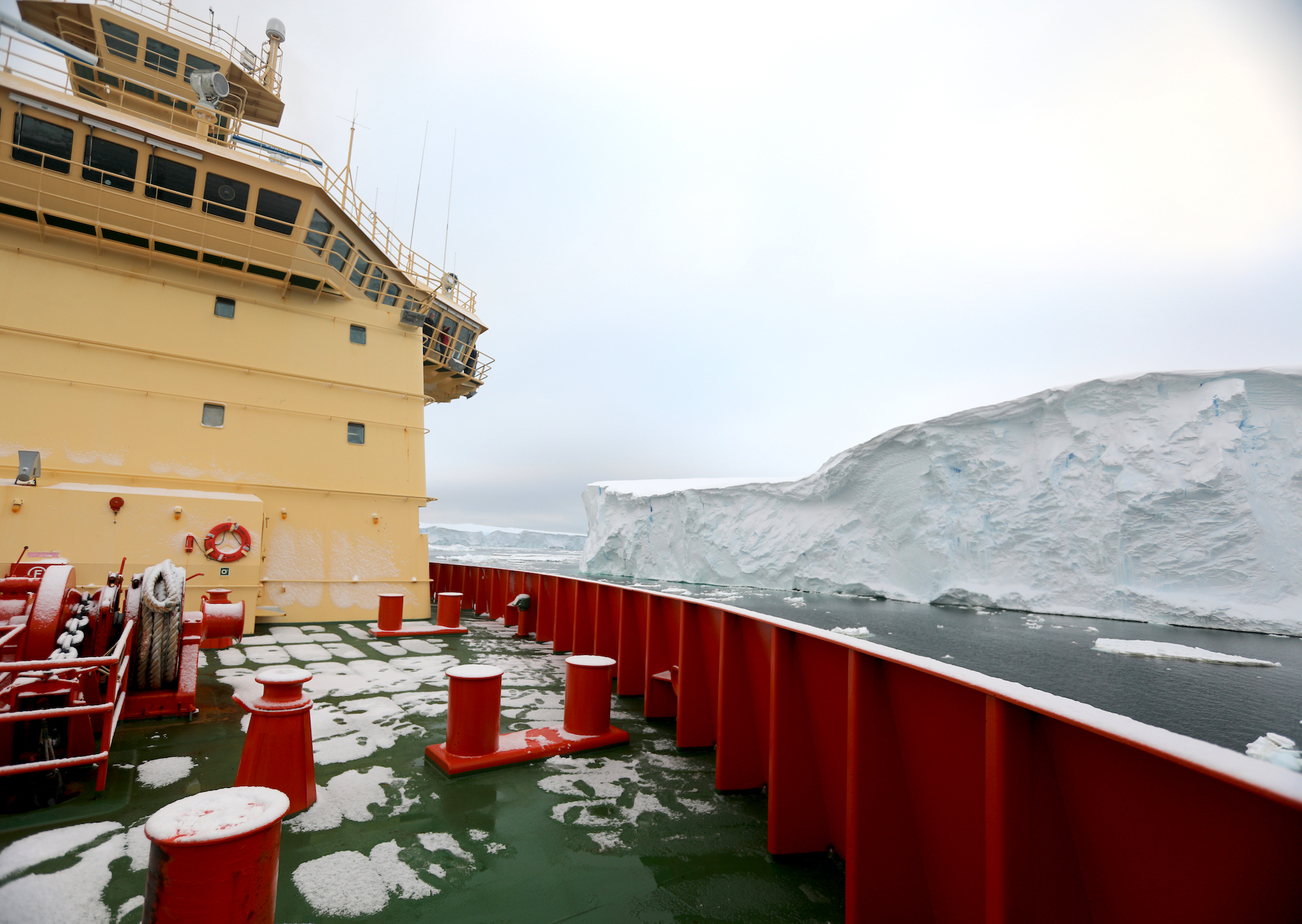 The Nathaniel B. Palmer at the face of the Thwaites Glacier Ice Shelf. The ship's close distance to the ice allows detailed mapping of the front and multibeam bathymetry. The angle of the echo sounder beam extends beneath the ice edge to see the seafloor a few meters under the shelf. I will talk about Thwaites Glacier itself in the next blog.
