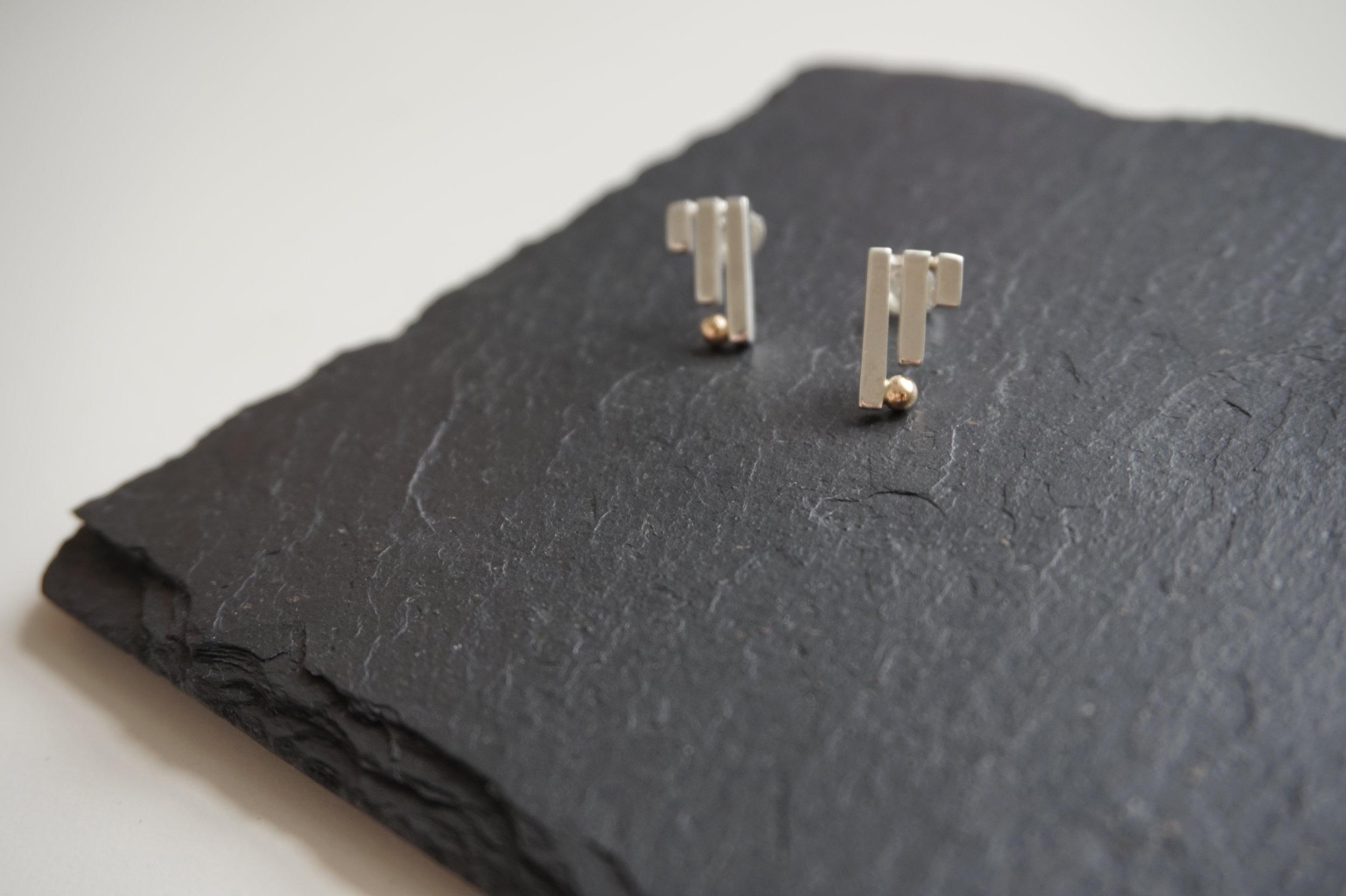 NINE Silver & Gold Stud Earrings