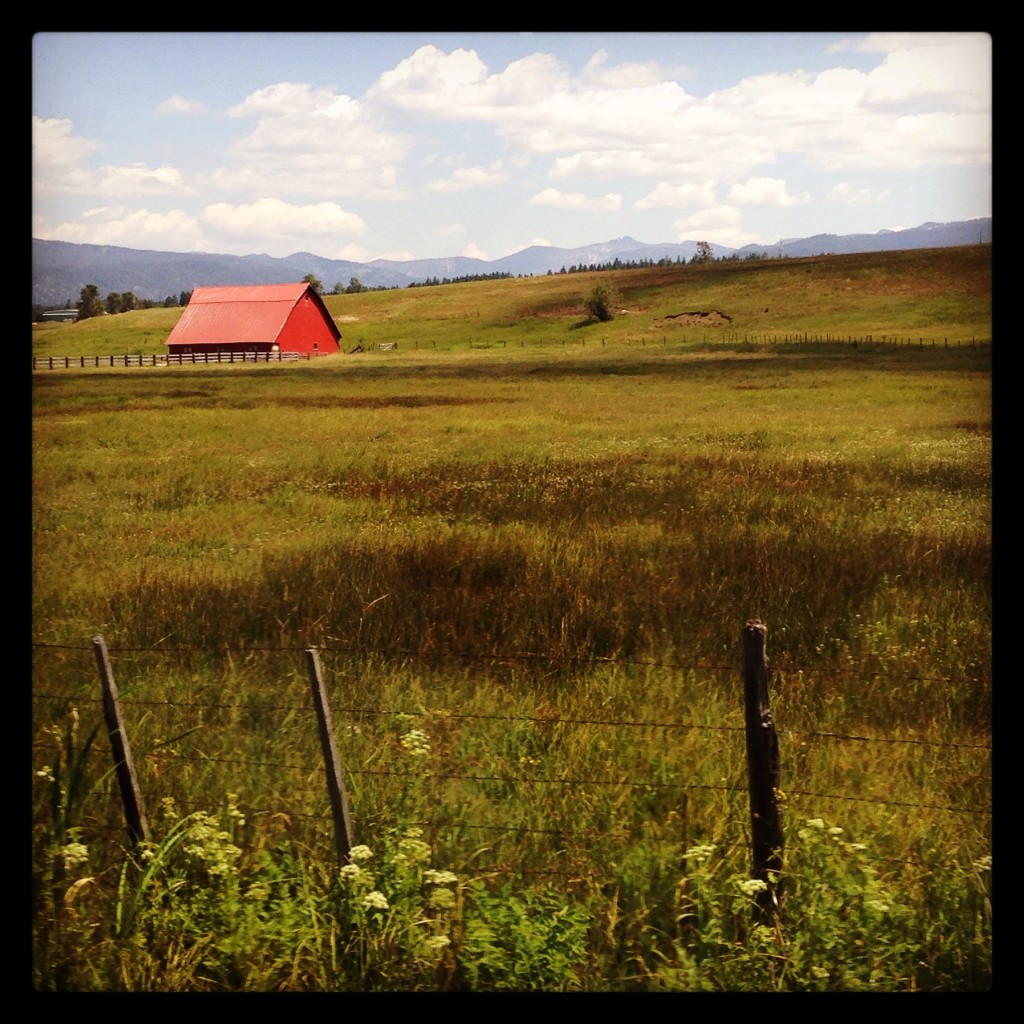 Red barn in the Idaho hills