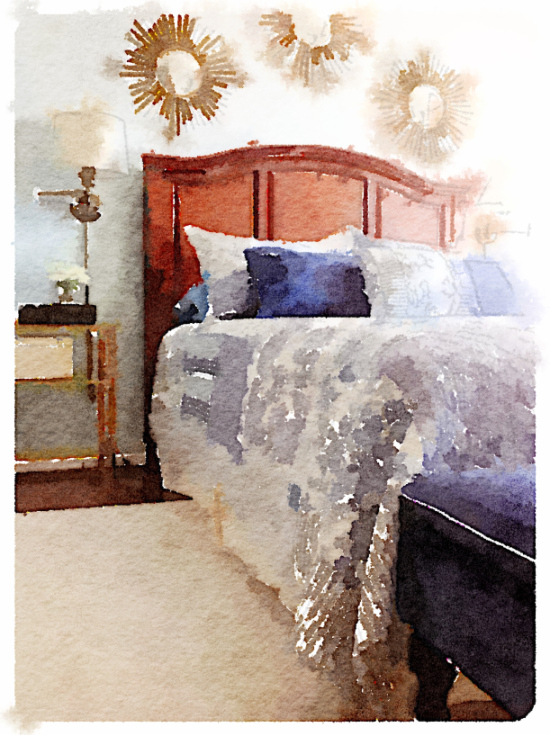 Blue and White Bedroom Painted in Waterlogue