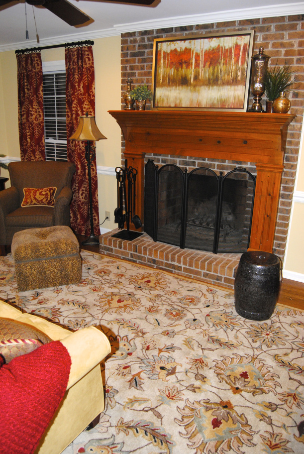 traditional den living room red brown yellow