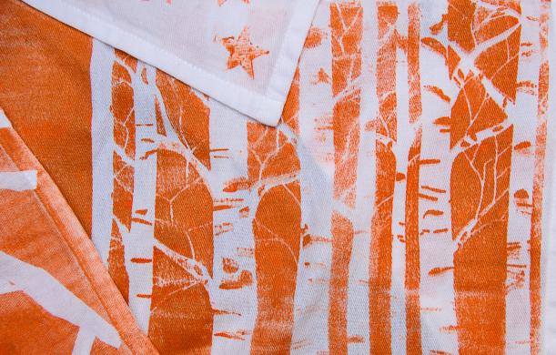 orange hand stamped napkins