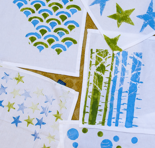 hand stamped napkins