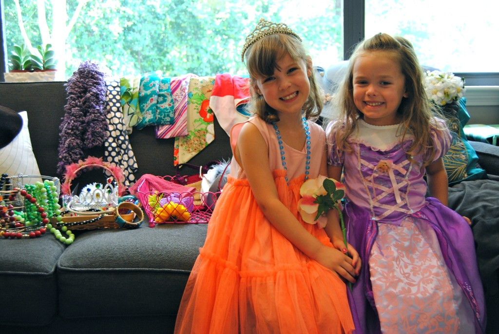 The girls dressed up in vintage hats and scarves, costume jewelry and plenty of princess pretty!