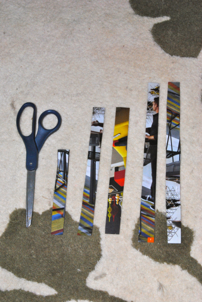 This photo is to show you the approximate size strips you'll need. They can vary based on the size of the end product you want, but you'll want an inch and a half difference between the sizes. Materials: All you need for this project is scissors, a glue stick and some sort of paper.