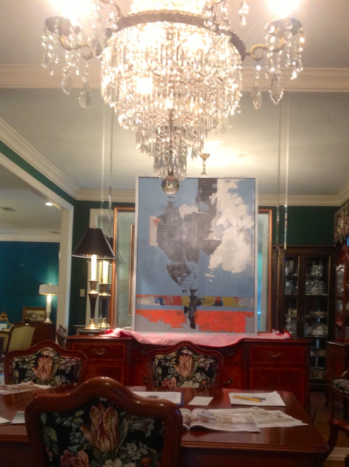 Modern art with chandelier