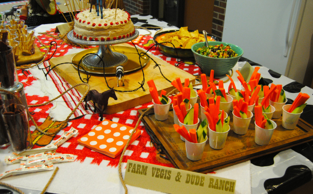 Farm Vegis and Dude Ranch and Cowboy Caviar round out a table of snacks fit for any weary traveller.
