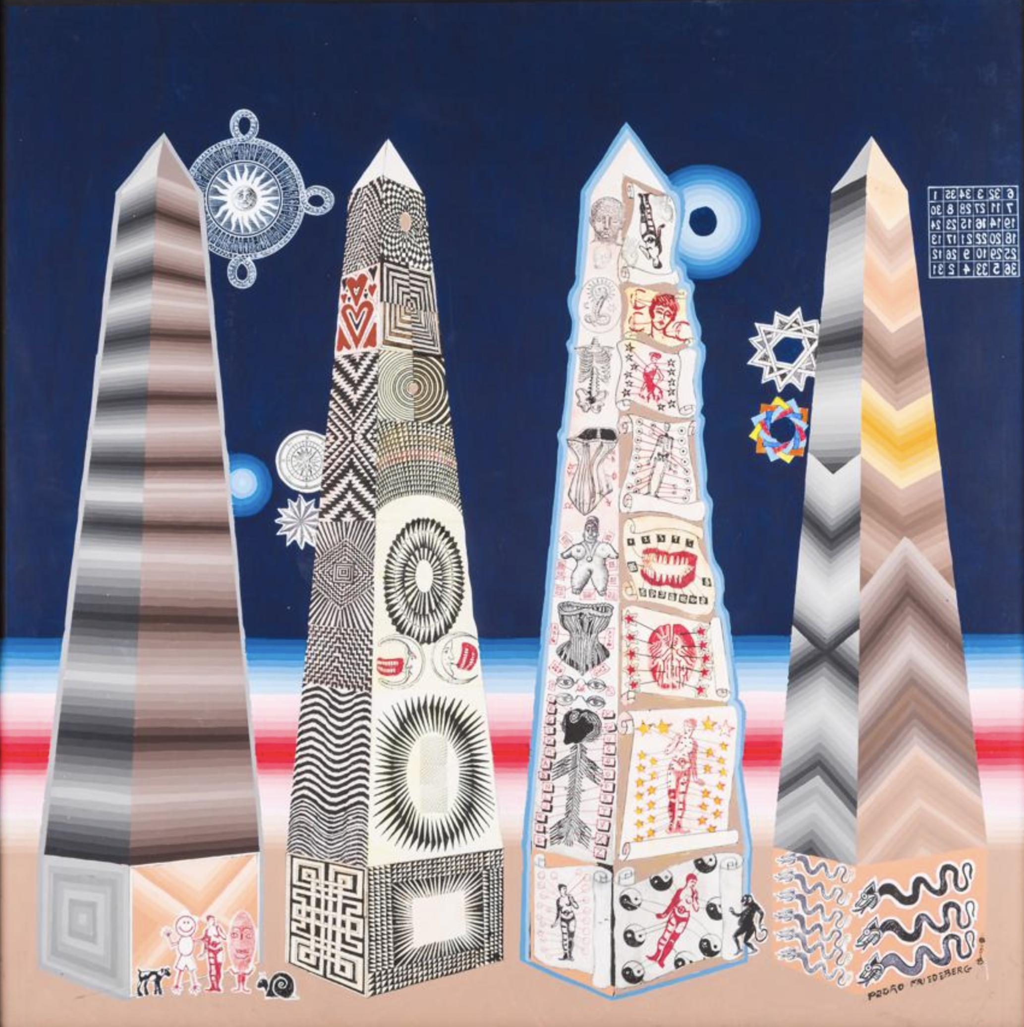 """Título:  """"Obelisco sin Corsé"""". 2018.  Técnica:  Acrílico y tinta sobre papel museum board"""