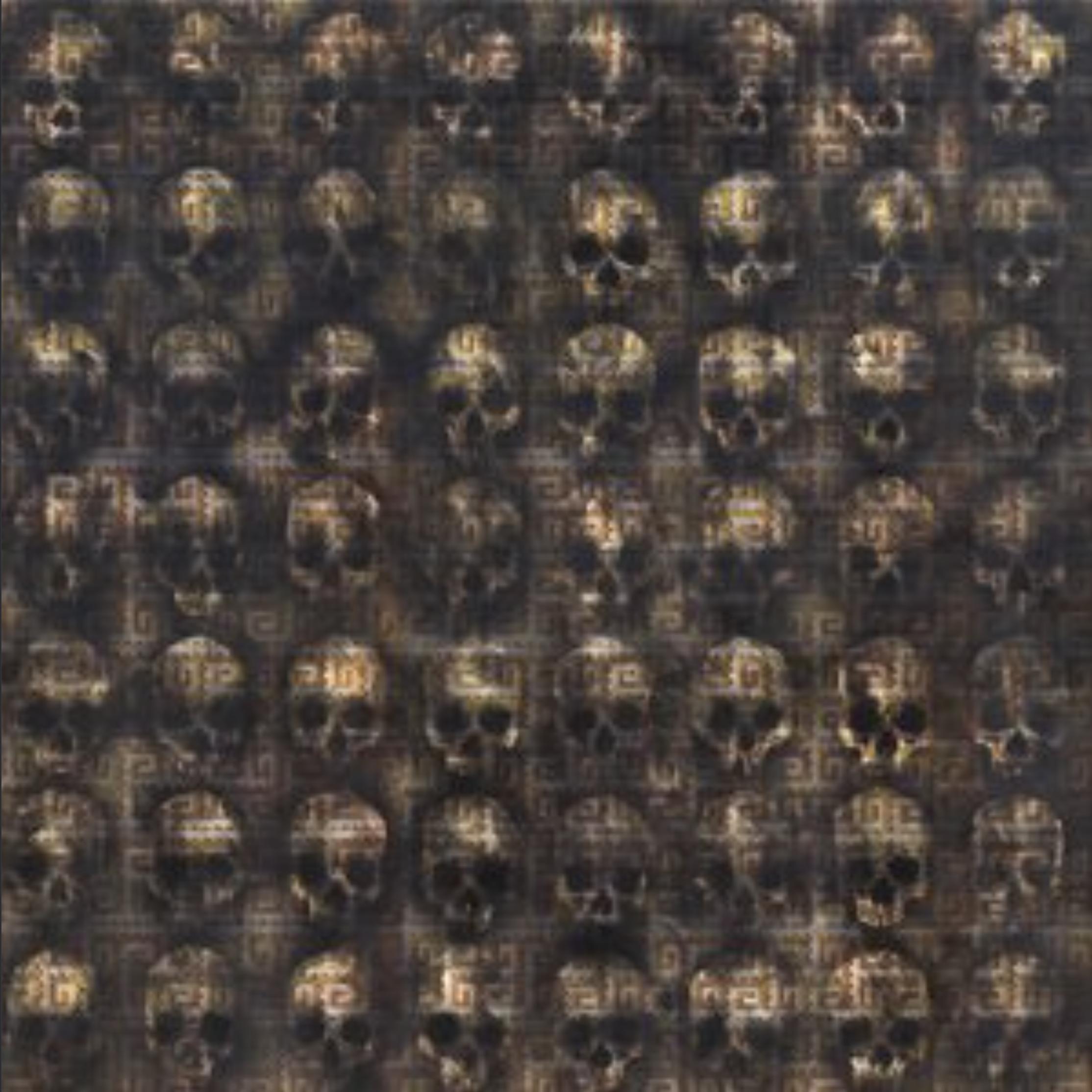 """""""Tzompantli y Mitla"""", 2017.  Autor:  Sabino Guisu  Técnica:  pintura con fondo de pintura acrílica, humo de copal fijado con damar."""