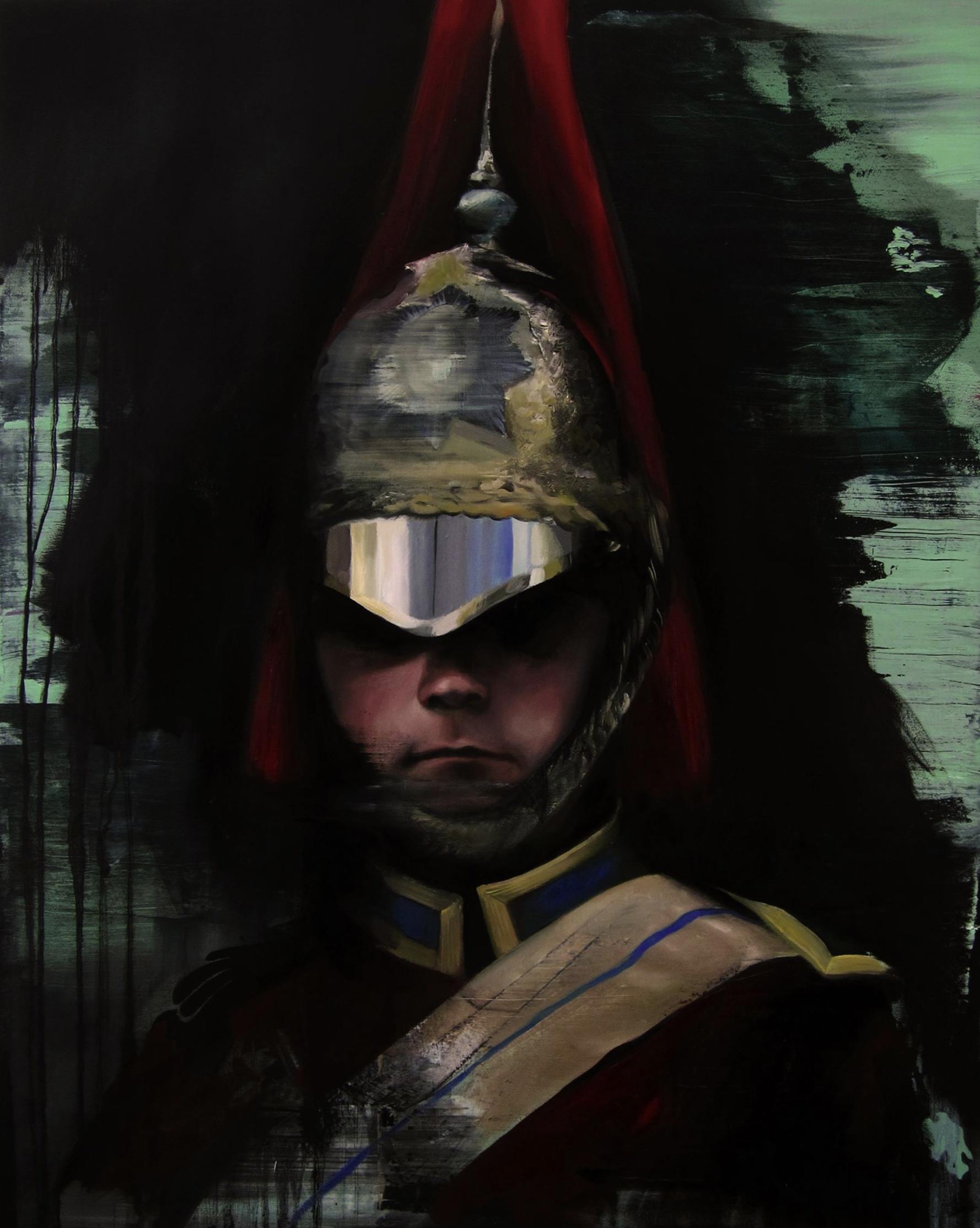 """Título:  """"Leaving Halewood"""", 2016.   Autor:  Manu Muñoz.  Técnica:  Óleo sobre lienzo.   Medidas:  80 x 100 cm."""
