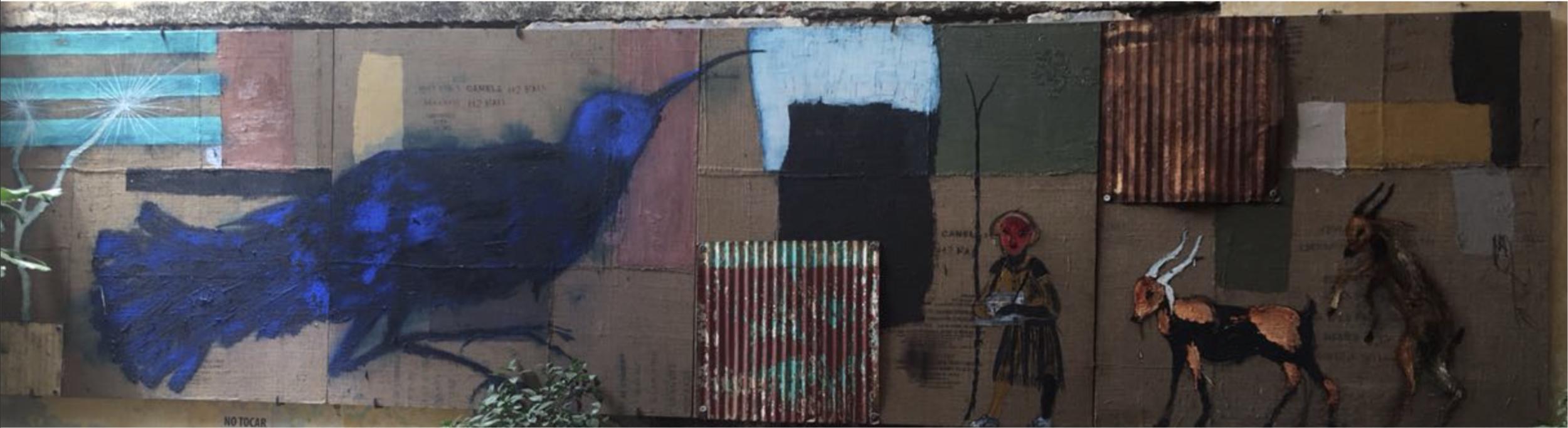 """Título:  """"Blue bird y la niña de los cigarros"""", 2018.   Autor:  Guillermo Olguin  Técnica:  Óleo sobre yutes y láminas montadas en madera."""