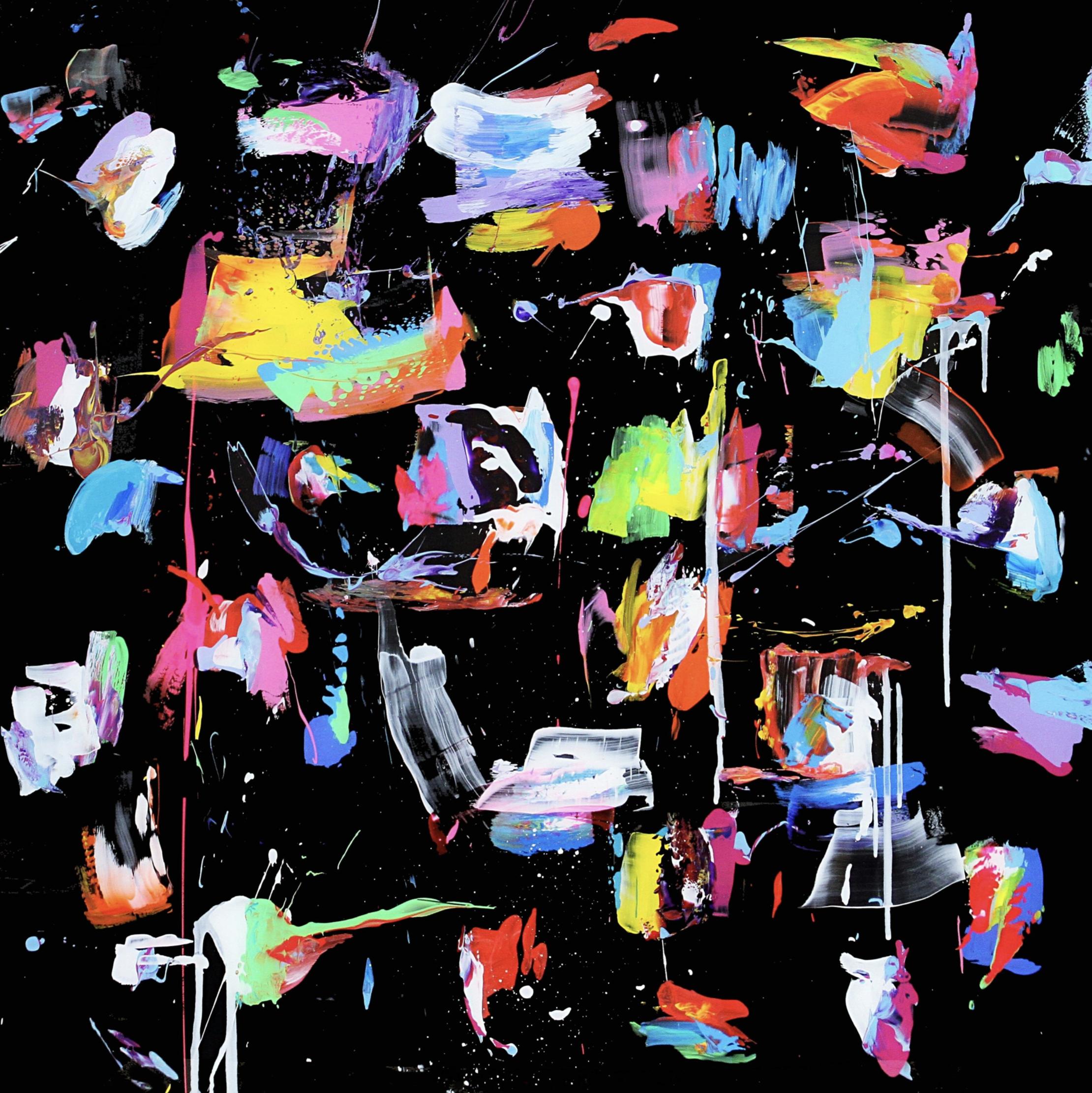 "Título:  ""ATLAS Black"", 2018.   Autor:  Santiago Picatoste.   Técnica:  Óleo sobre lienzo.   Medidas:  120 x 120 cm."