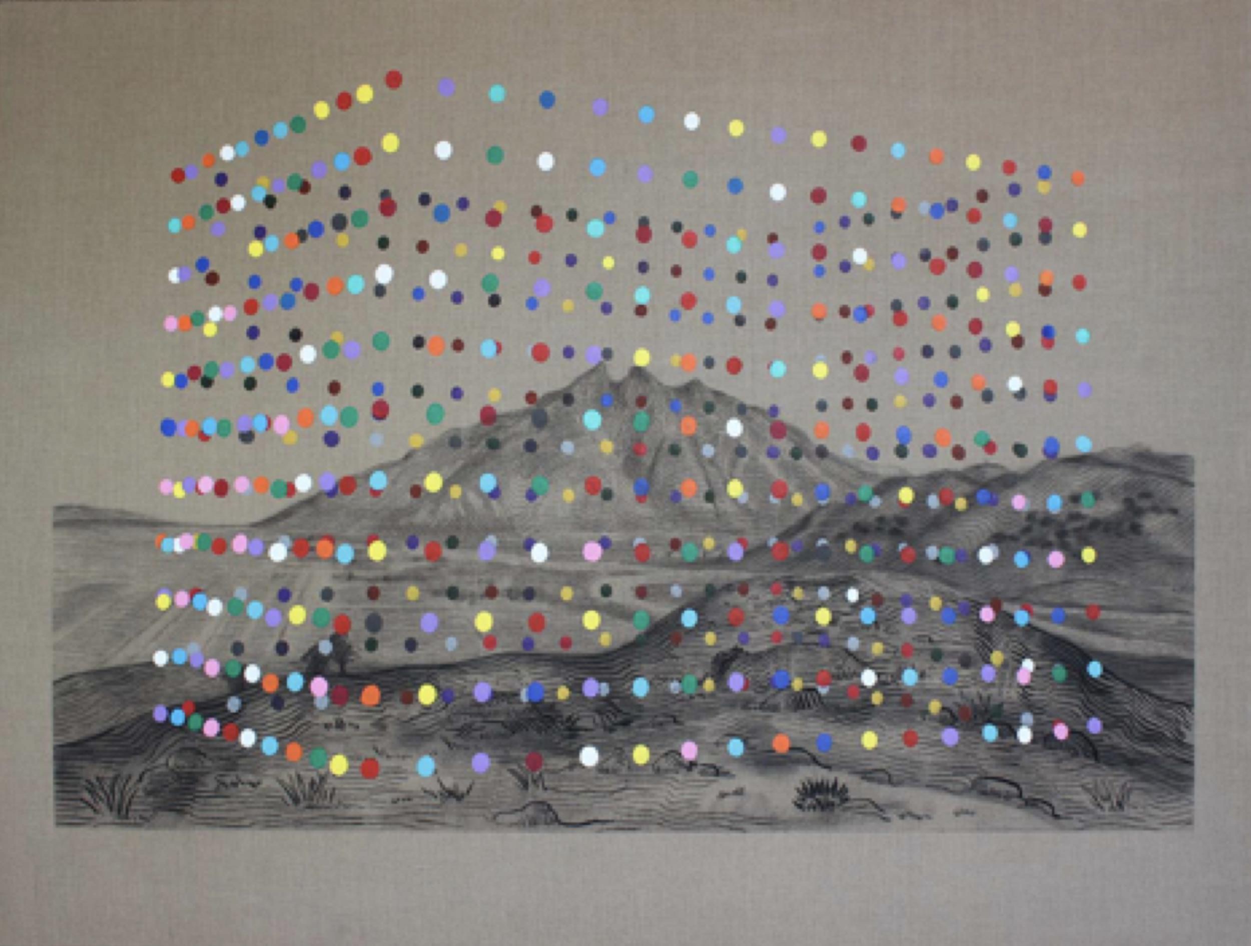 """Título:  """"Orden"""", 2017   Autor:  Alejandro Pintado  Técnica:  Carbón acrílico sobre lino crudo   Medidas:  150 x 200 cm"""