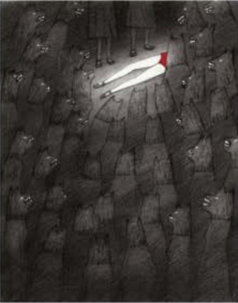 "Título:  ""Caperucita"", 2016.  Autor:  Sandra Rilova.  Técnica:  Carboncillo, grafito y collage.   Medidas:  25 x 20cm."