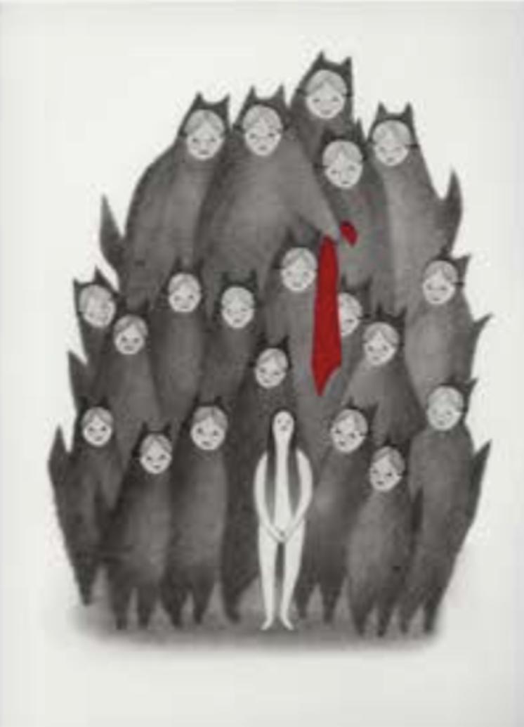 "Título:  ""Caperucita II"", 2016.  Autor:  Sandra Rilova.  Técnica:  Grafito y collage sobre papel.   Medidas:  25 x 20 cm."