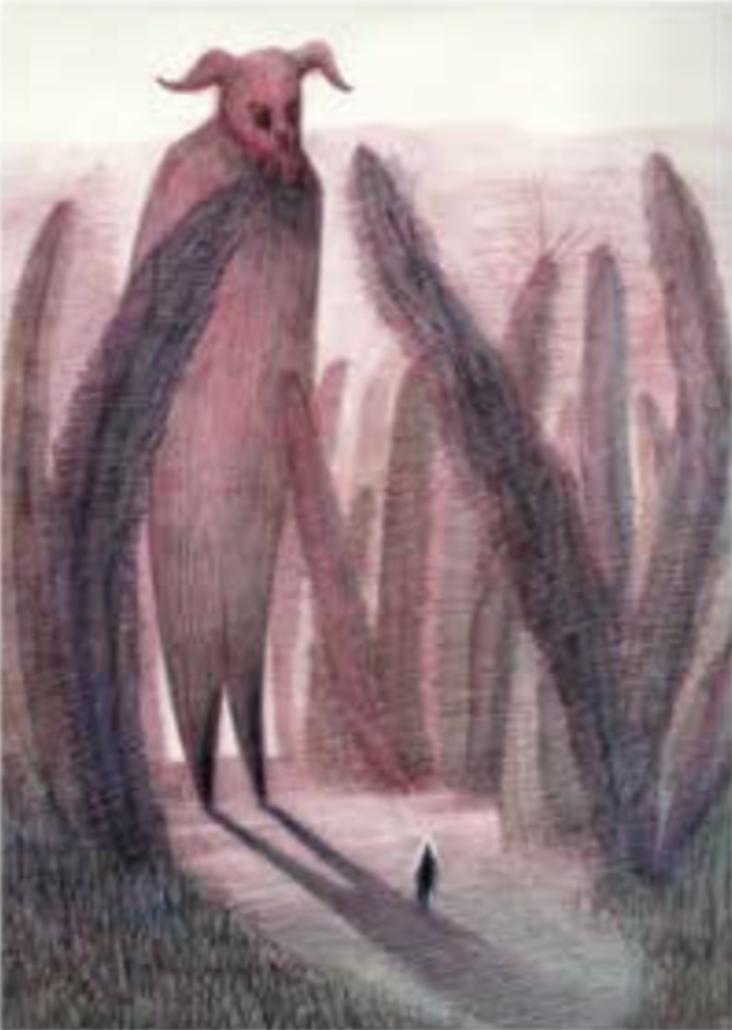 "Título:  ""Into the woods"", 2016.   Autor:  Sandra Rilova.  Técnica:  Acuarela y lápices de color.   Medidas:  25 x 20 cm."
