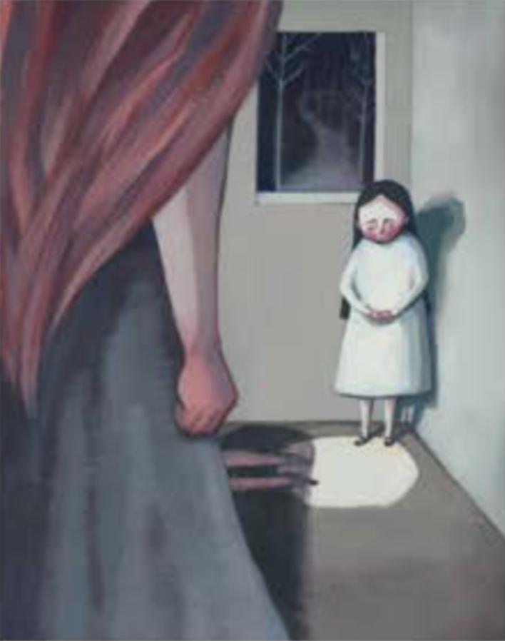 """Título:  """"Enjaulada"""", 2016.  Autor:  Sandra Rilova.  Técnica:  Acrílico y lápices de colores.   Medidas:  25 x 20 cm."""