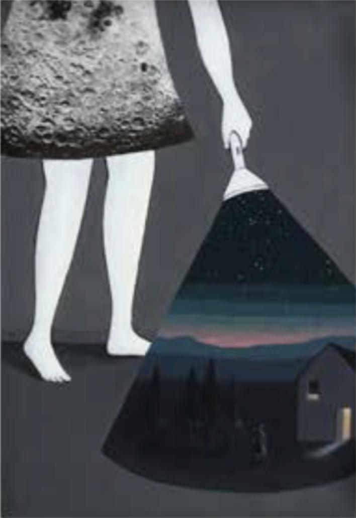 """Título:  """"Moon"""", 2016.  Autor:  Sandra Rilova.  Técnica:  Acrílico, collage y lápices de color   Medidas:  29 x 20 cm."""