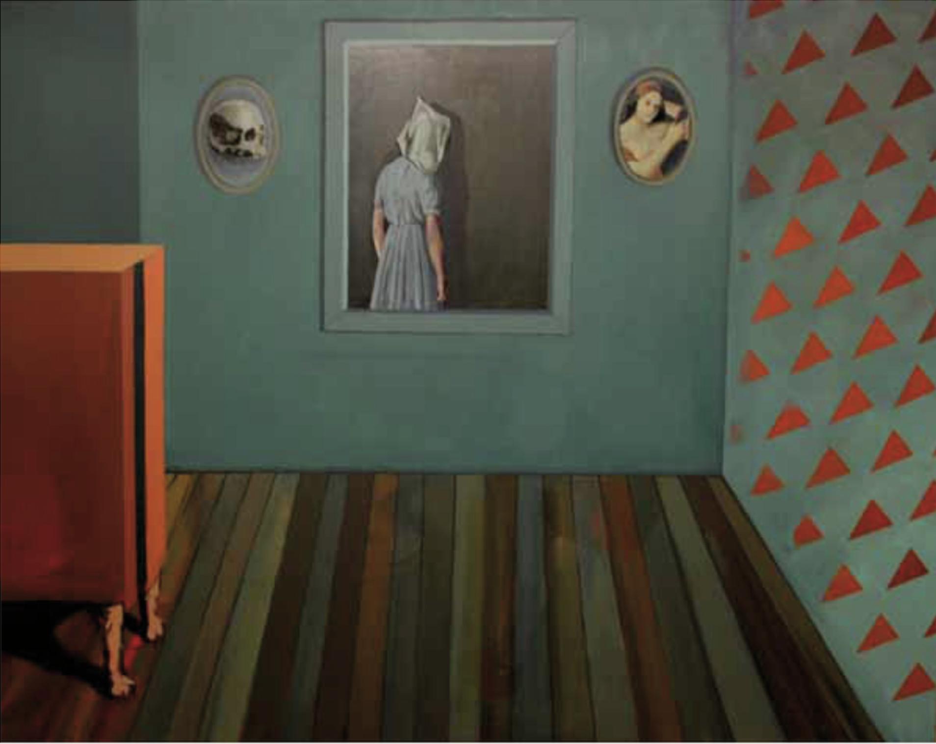 """Título:  """"La muerte y la doncella"""", 2013.   Autor:  Sandra Rilova.  Técnica:  Óleo sobre lienzo.  Medidas:  114 x 146 cm."""