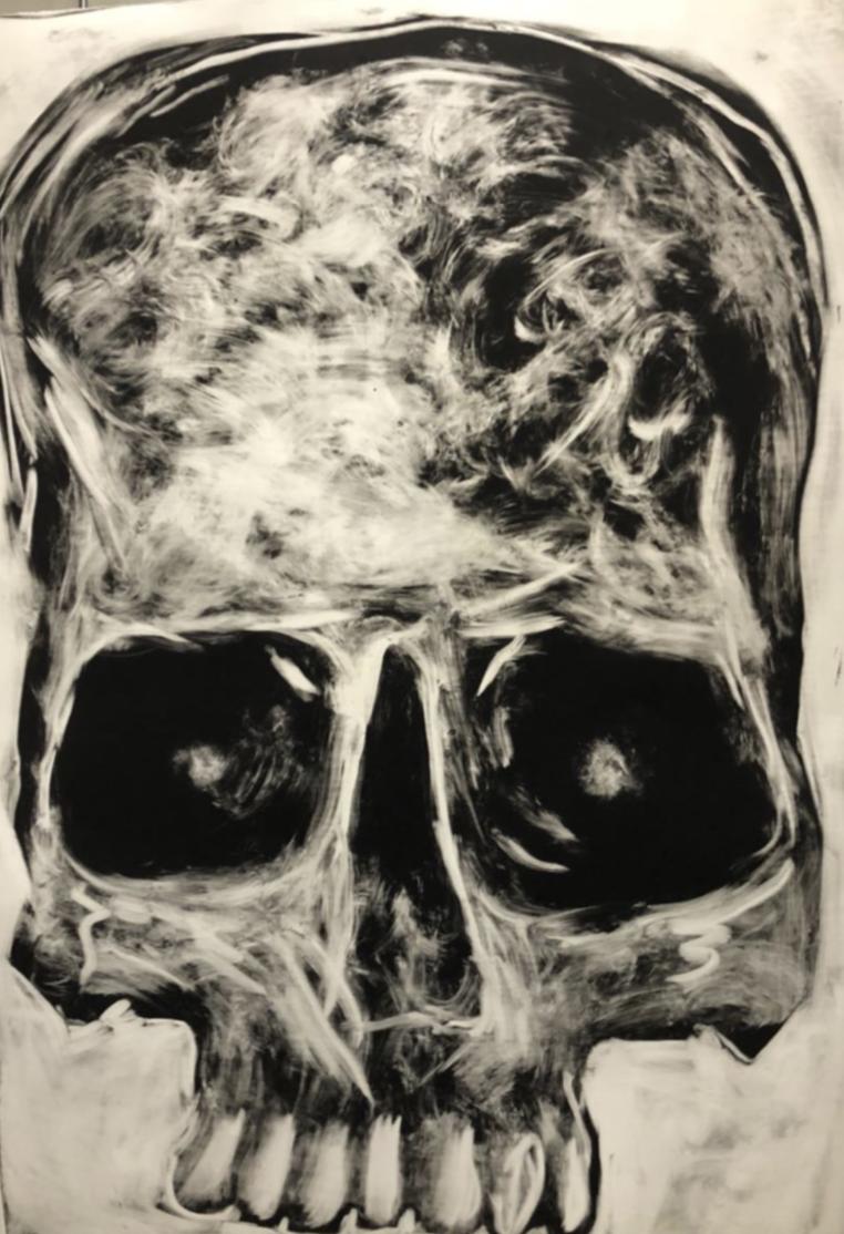 """Título:  """"Videntes"""", 2018.  Autor:  Lucio Santiago.  Técnica:  Monotipo acrílico sobre papel algodón.   Medidas:  190 x 245 cm."""