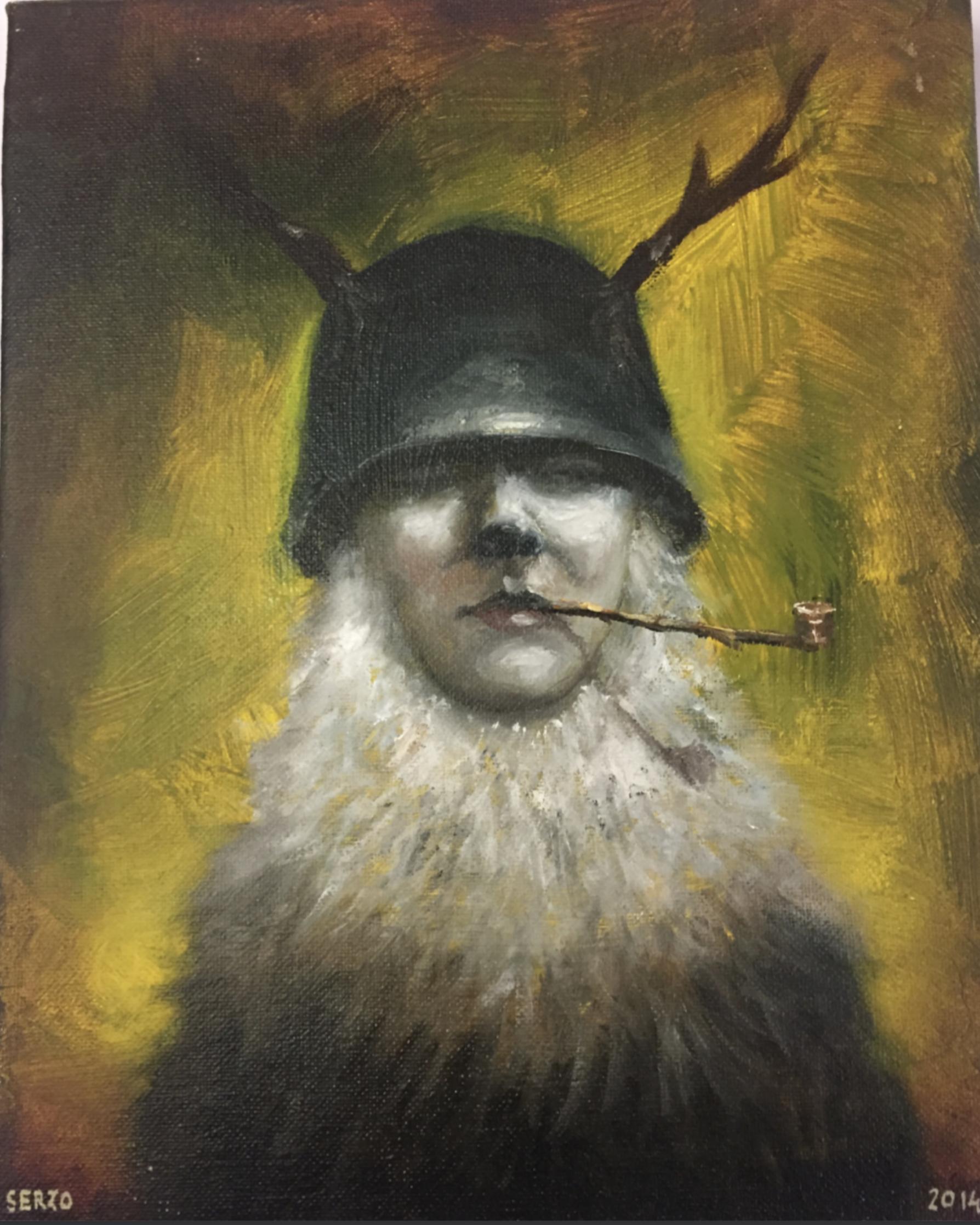 """Título:  """"Eva de los Señores del Bosque"""", 2014.   Autor:  Jose Luís Serzo.  Técnica:  Óleo sobre lienzo.  Medidas:  22 x 27.5 cm."""