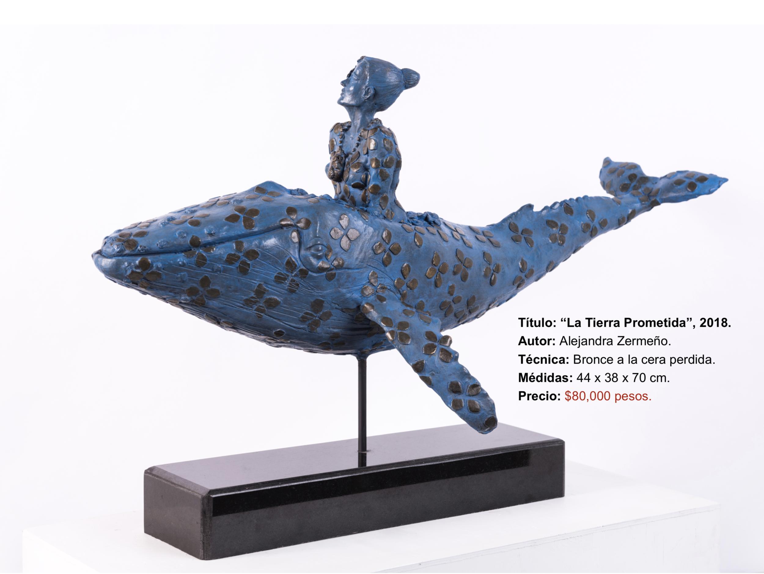 "Título:  ""La Tierra Prometida"", 2018.   Autor:  Alejandra Zermeño.  Técnica:  Bronce a la cera perdida.   Medidas:  44 x 38 x 70 cm."