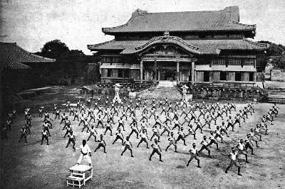 Students training en masse at Shuri Castle.