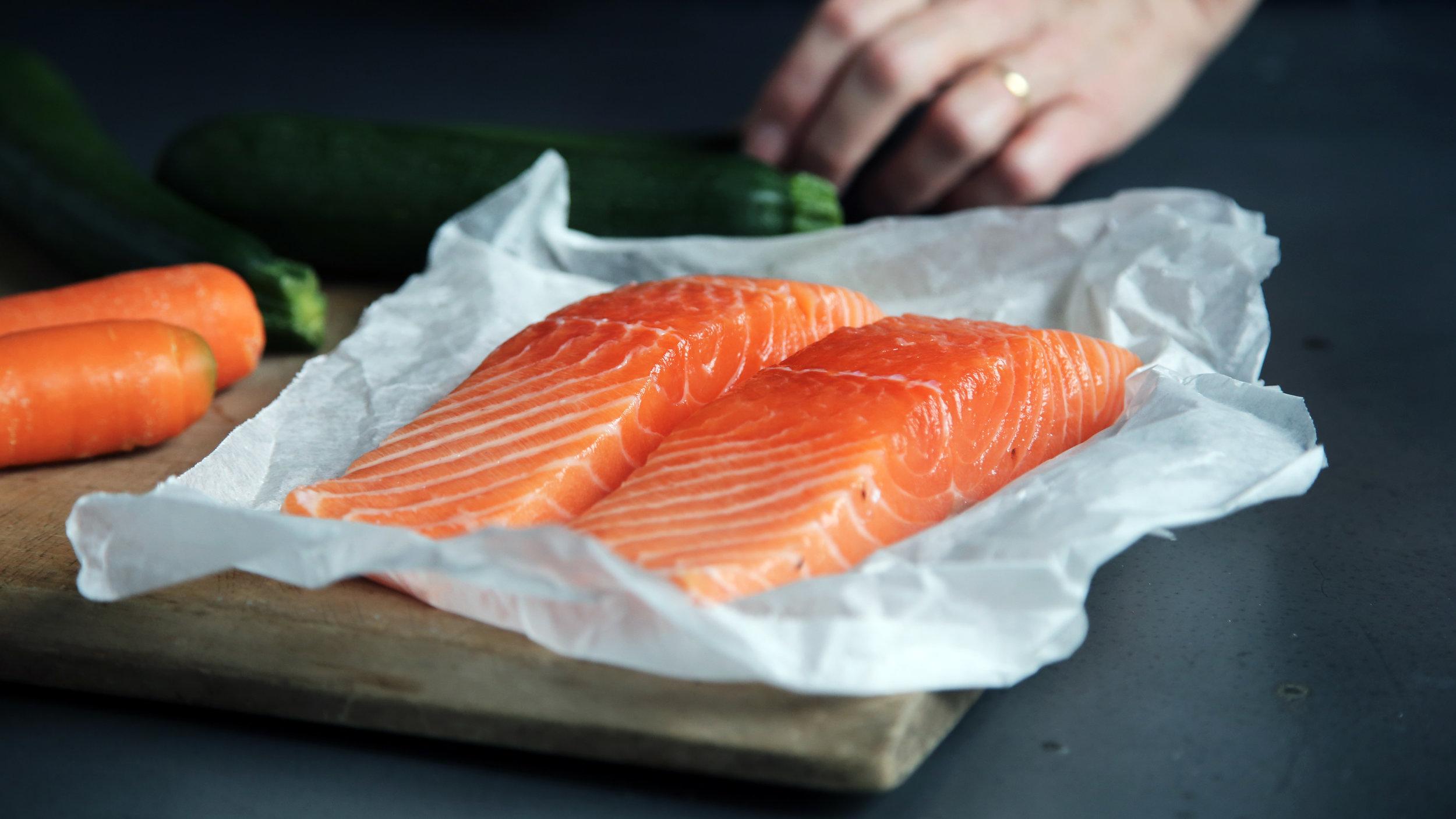 two slices of fresh salmon