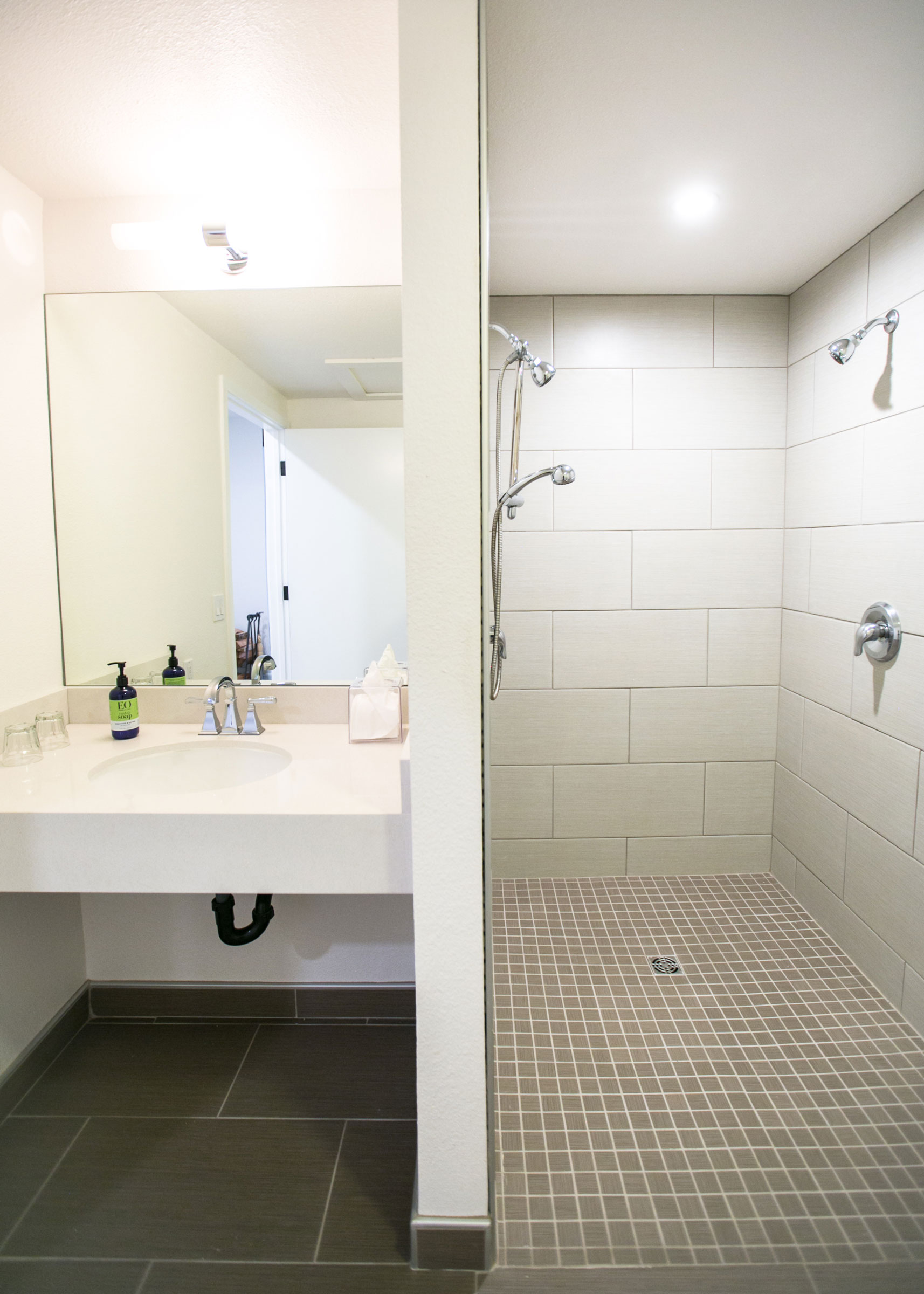 The ADA accessible bathroom in room 104 at The Lodge, Glendeven Inn & Lodge, Mendocino