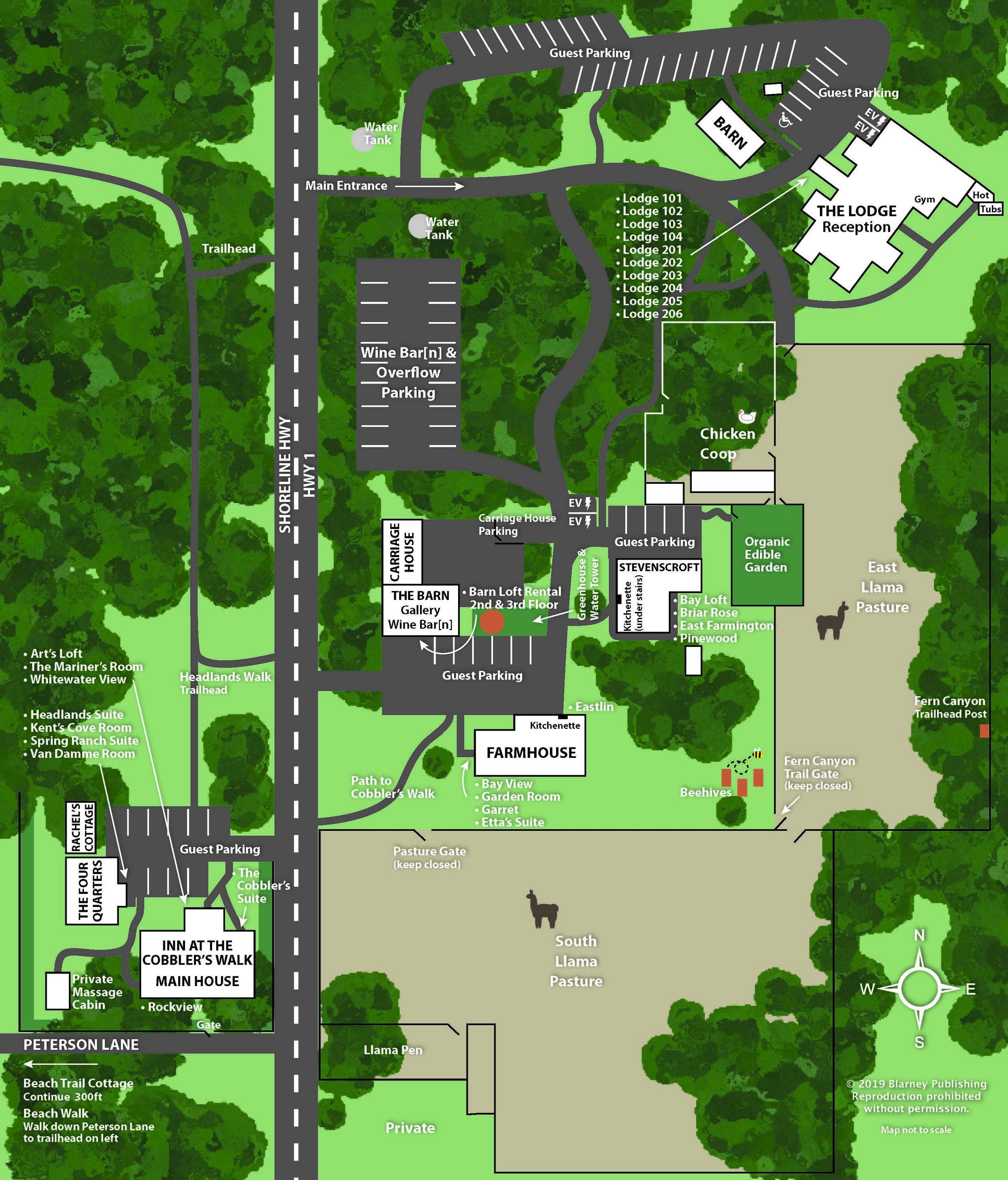 Property map of Glendeven Inn & Lodge and The Inn at Cobbler's Walk