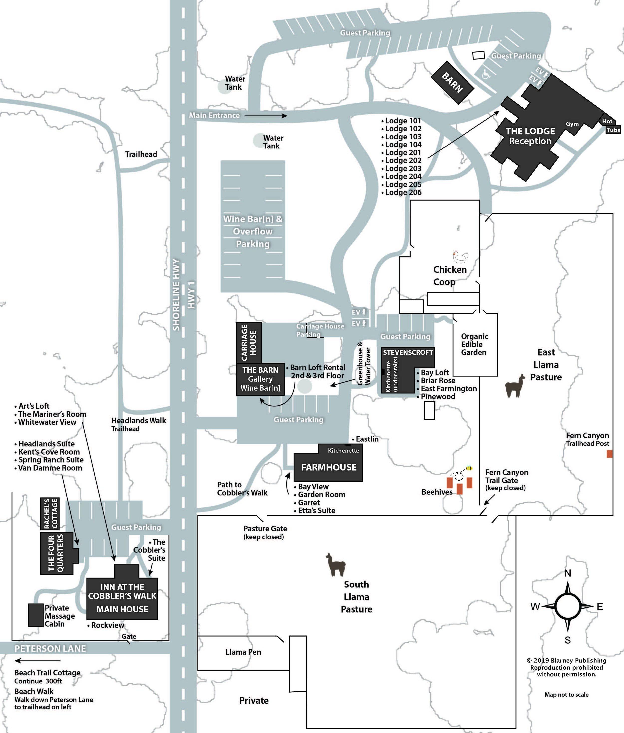 Map of Glendeven Inn ~ click for larger version