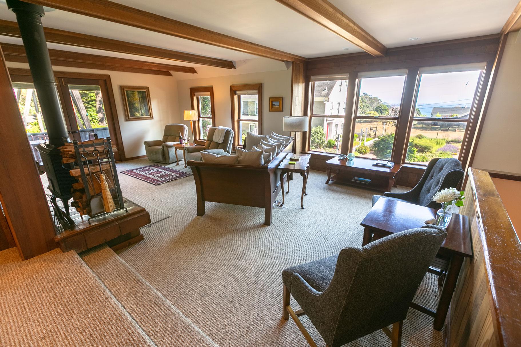 Barn Loft Living Room in Glendeven Inn outside Mendocino