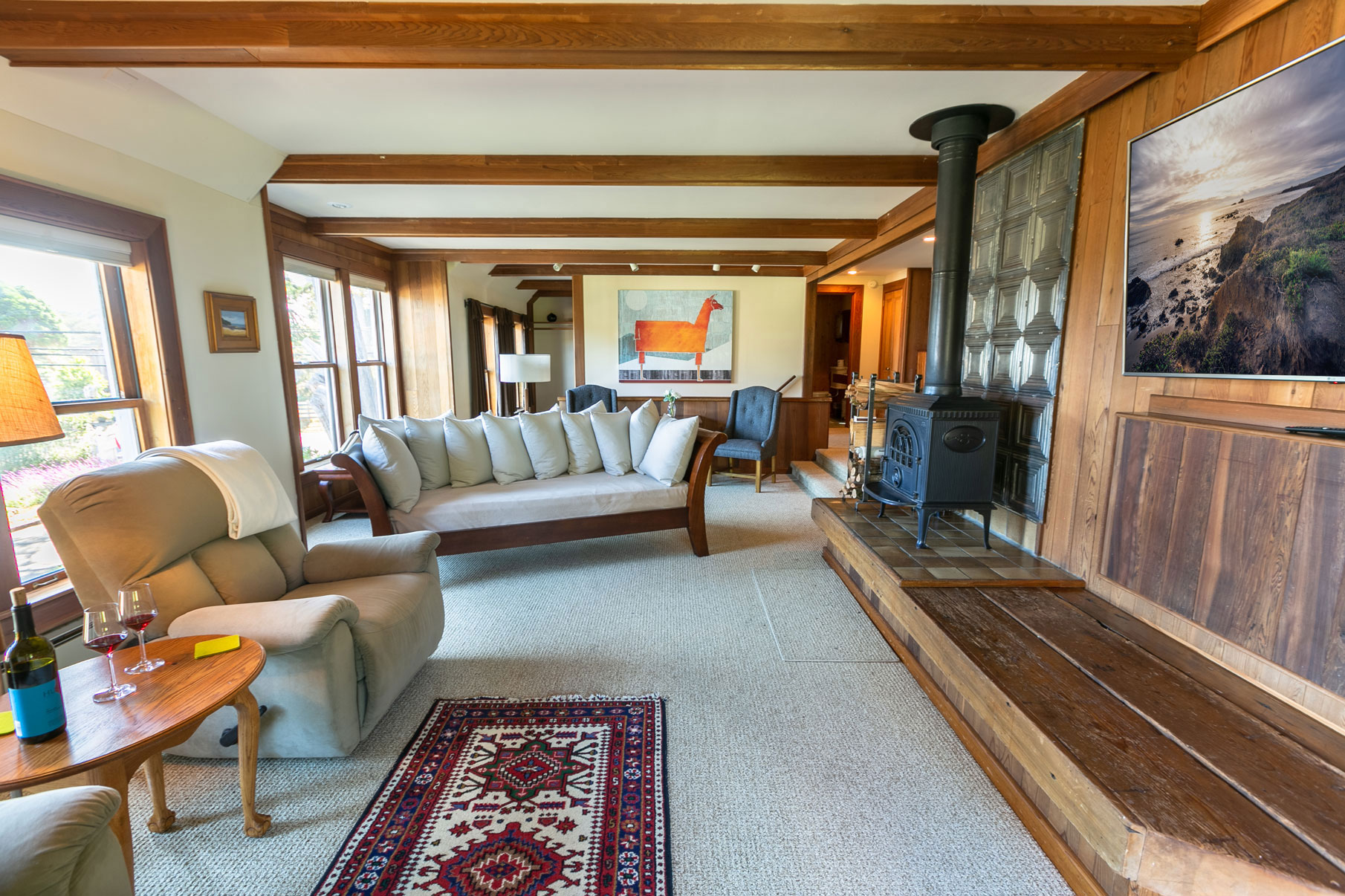 Barn Loft Living Room with flat screen TV Mendocino Bed and Breakfast