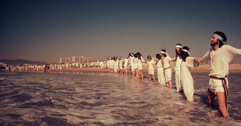 Isis Aquarian,  A Rare Source Family Outing to Santa Monica Beach , 1973, Color Photograph, 8 x 16 Inches