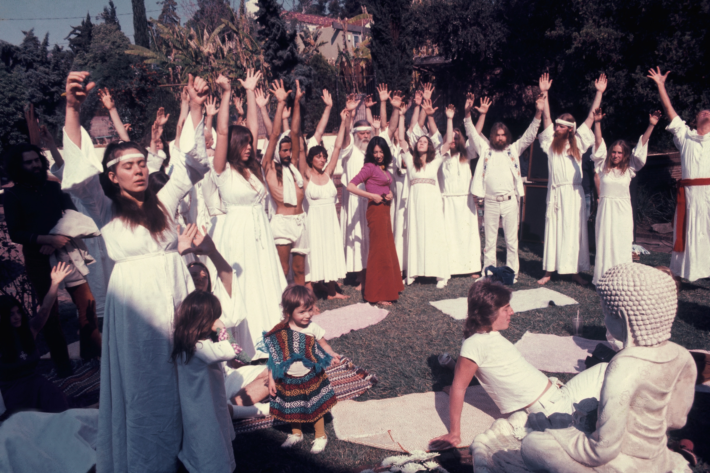 Isis Aquarian,  Source Family Sun Salutation,  1973, color photograph, 8 x 12 inches (image courtesy of Source Family Archives, UCSB)