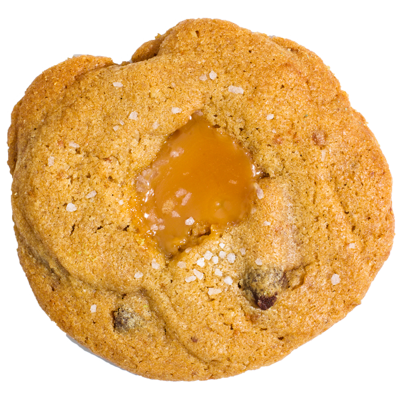 Our very own Chocolate Chip with a creamy caramel center. If you're a caramel lover, go for it!