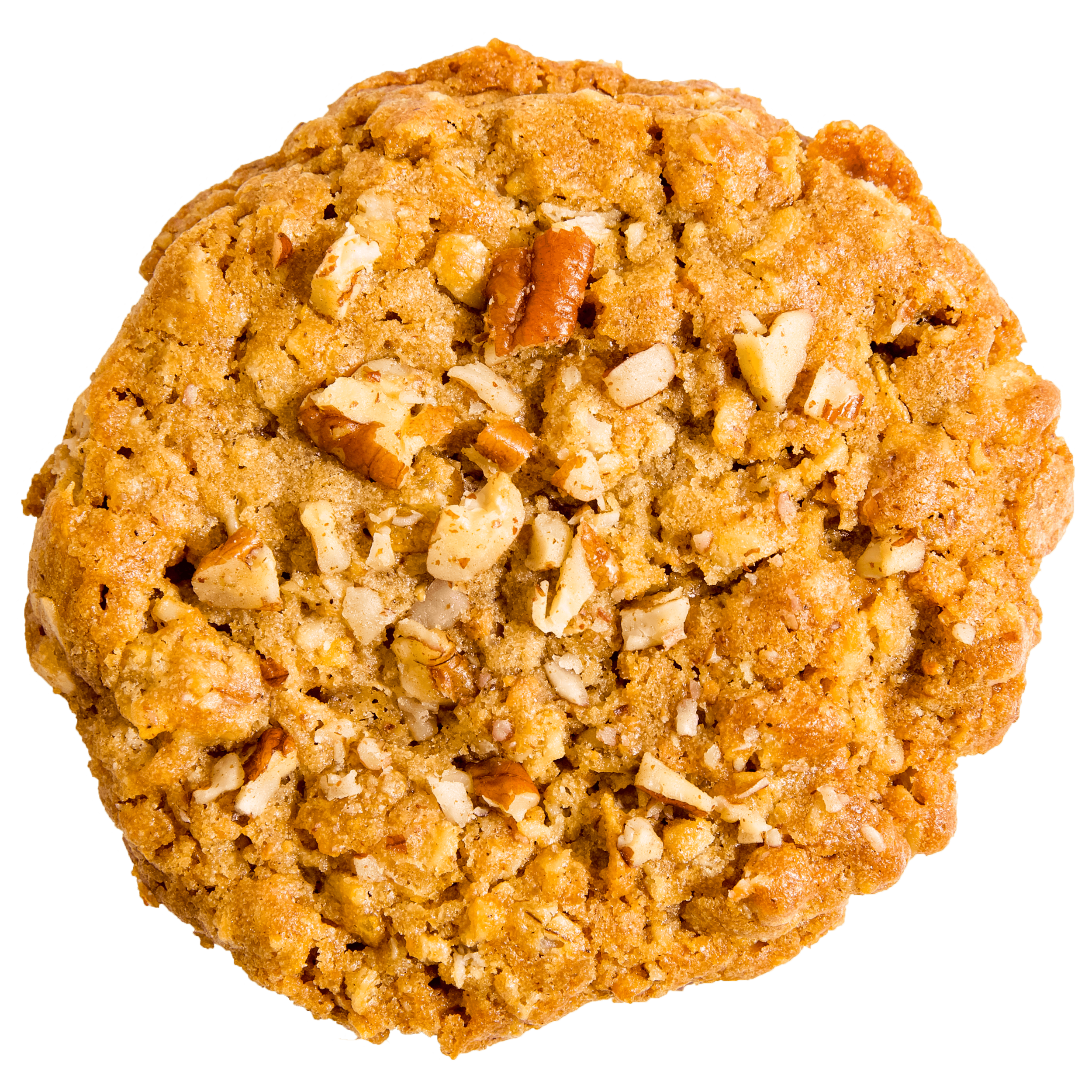 Classic oatmeal cookie topped with pecans. It's our classic oatmeal. Just nuttier.