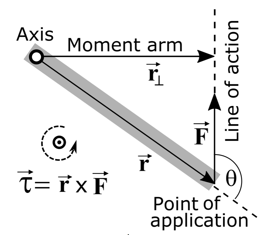 Img -  https://upload.wikimedia.org/wikipedia/commons/thumb/f/f7/Torque_lever_arm_w_point_of_application_and_line_of_action.svg/1133px-Torque_lever_arm_w_point_of_application_and_line_of_action.svg.png