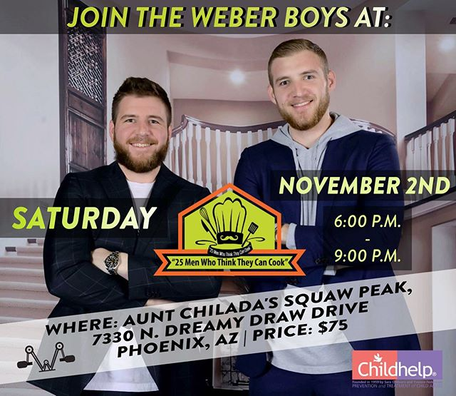 We didn't get the win last year but this is our year. We cook 10 times? Other chefs might win 9, but not Saturday.... Saturday is OUR night. • Come join us @auntchiladas Squaw peak for the @childhelp 25 men who think they can cook event! • To buy online: https://www.childhelp.org/25menphoenix-2/
