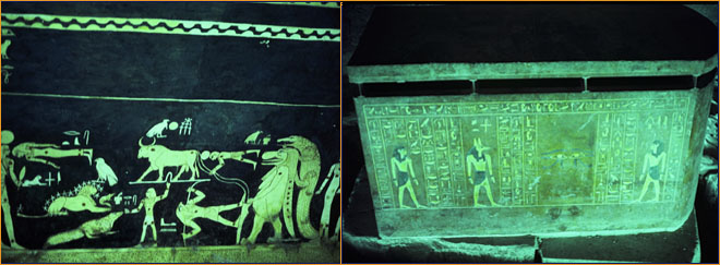 Left to Right: ceiling of king tut's tomb, with frescoes of astrological signs and egyptian gods, done with traditional colors of yellow and cobalt blue king tut's outer sarcophagus, inside king tut's tomb, the spot where howard carter found it in 1922