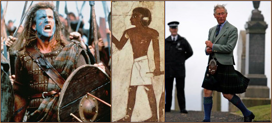 Left to right: Mel Gibson in Braveheart | Shendyt worn by pharaohs and the warriors of Egypt | prince charles wearing a kilt