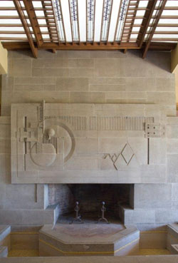 Hollyhock House - full view of living room fireplace