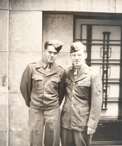 "Private Donald ""Drew Wilson"" (on left) and his older brother Herschell, on leave together in Antwerp, Belgium, in the late Fall of 1944, just before my father was sent to fight in the Battle of the Bulge in December."