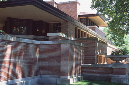 The Robie House, by Frank Lloyd Wright, 1906-1909, the prototype for the modern house.