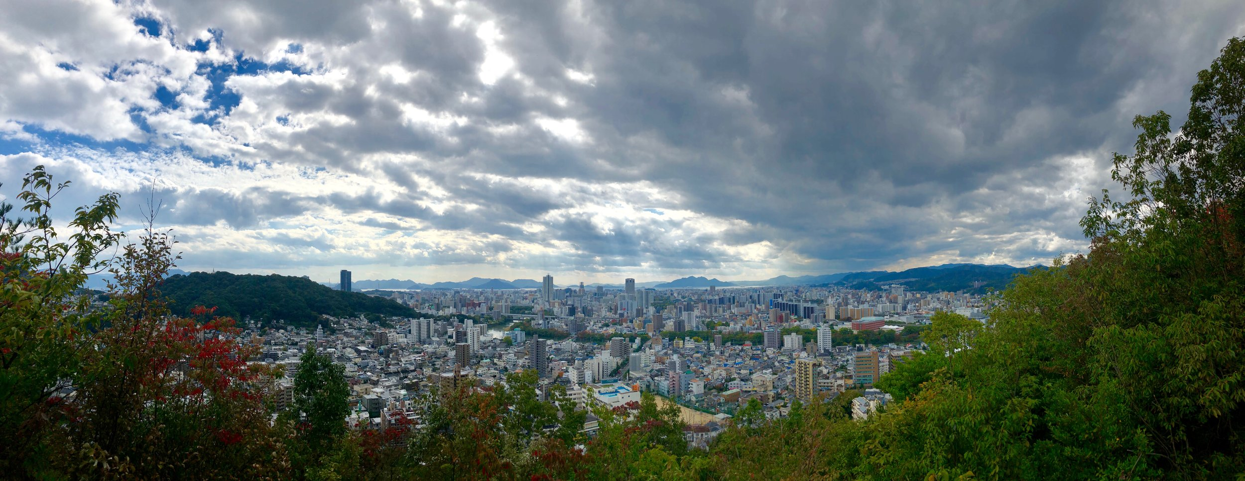 View from atop a mountain overlooking Hiroshima, Japan.